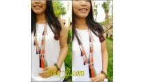 organic wooden beads tassel necklace handmade bali