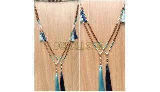 tassels beads wood mala natural handmade