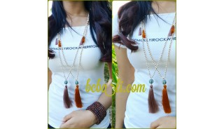 two color tassels single pendant beads long strand