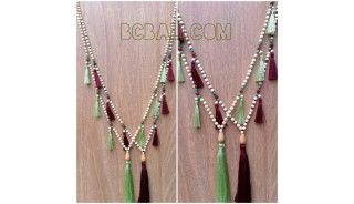 wooden beads mala tassels necklaces fashion