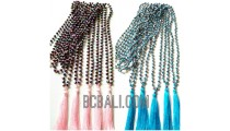 crystal beads necklaces tassels mono color bali design