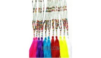 tassels necklaces beads multi color mix seed long