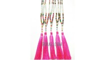 tassels necklaces beaded multi color seeds Yoga