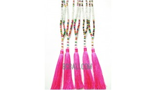 two color tassels necklaces beaded multi seeds