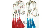 tassels necklaces beaded wood multi color seeds
