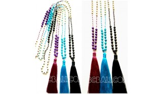 3color beads stone necklaces tassels bali
