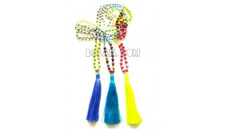 3color beaded original stone necklaces tassels bali