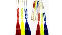 3color stone beads handmade necklace pendant tassels