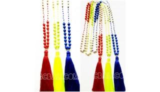 3color stone beads handmade necklace pendant tassels