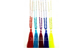5color beads stone pendant tassels necklace