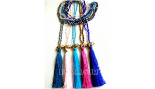 5color tassels necklace crystal beads pendant elephant