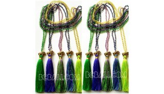 5color tassels necklaces crystal bead pendant elephant