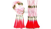 beading necklaces tassels pink long seed handmade
