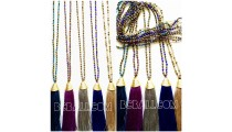 golden chrome beaded necklace pendant tassels