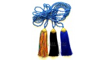 golden chrome tassels 3 color stone bead necklaces
