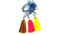 golden chrome tassel 3 color stone bead necklaces