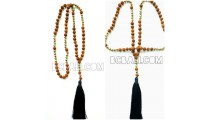 mala beaded necklace pendant tassel natural