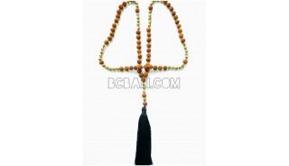 mala beaded necklace pendant tassel natural