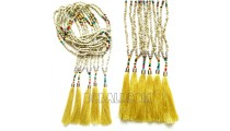 natural beaded necklaces tassels long strand handmade