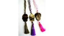 shells carved pendant tassels necklace crystal