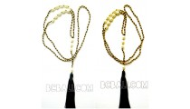 tassels necklaces pendant bead golden pearls