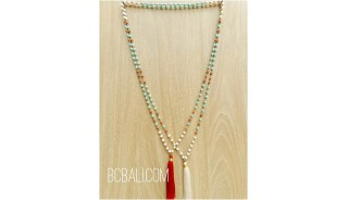 2color bali tassels necklaces beads stone rudraksha
