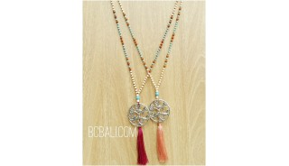 2color necklaces bronze silver beads rudraksha bead
