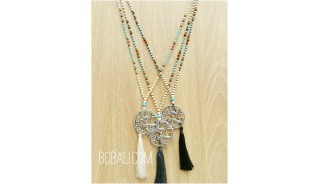 balinese handmade tassels necklaces bronze caps