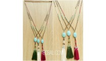 beads tassels stone caps three color  handmade