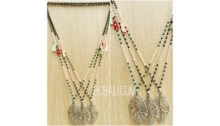 bronze caps pendant necklaces beads stone 3color