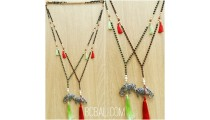 bronze caps silver elephant tassels beads necklaces