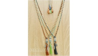 crystal beads tassels charms caps necklaces three color