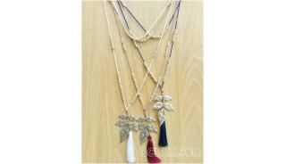 flower caps bronze necklaces tassels design