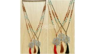 rudraksha tassels bead three color pendant tree life bronze