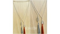 single strand beads necklace tassels leaves bronze silver