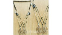 tassels necklace pendant bronze leaves