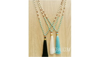 tassels pendant necklaces beads stone rudraksha