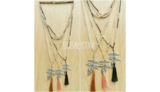 tassels pendant necklaces bronze caps beads bali