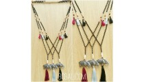 three color tassels elephant bronze caps bead necklace