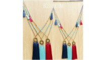 three color tassels necklace pendant gold caps beads