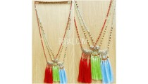 three color tassels pendant necklace silver bronze