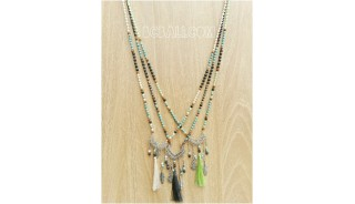 tree color charm necklaces bead tassels bronze caps