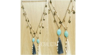 two color beads stone necklaces tassels handmade