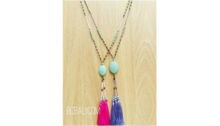 two color necklaces stone bead caps tassels bali