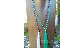 fashion necklaces tassels glass beads green