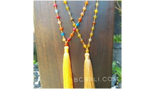 mix color ceramic beads necklace tassels