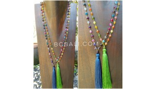 multi color ceramic beads tassels necklaces green blue