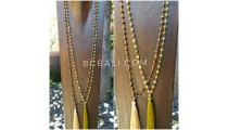 natural ceramic color beads prayer necklaces with tassels