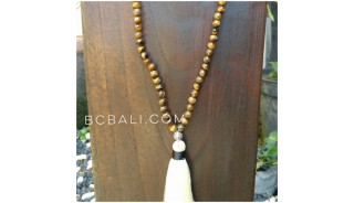 prayer necklaces tassels wooden beads organic