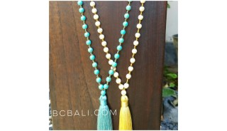 prayer neklaces tassels with ceramic beaded blue yellow